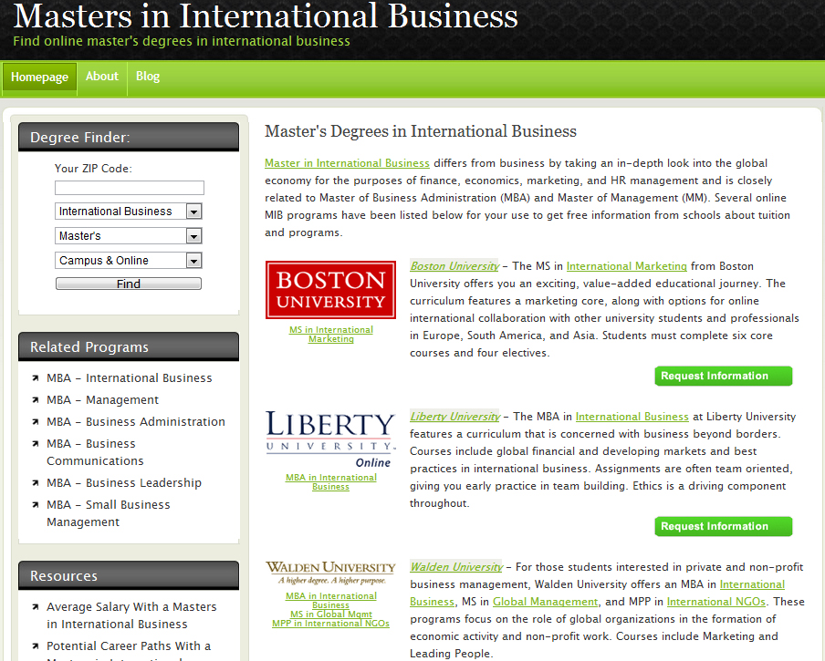 Masters in International Business