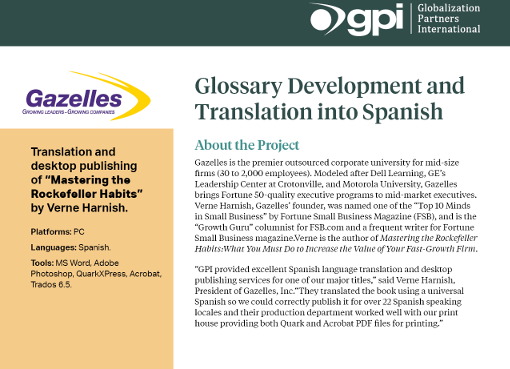Gazelles Book Translation & Glossary Development Case Study | GPI