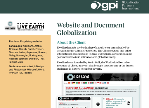 Live Earth Document & Website Translation Case Study | GPI