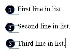 numbered list