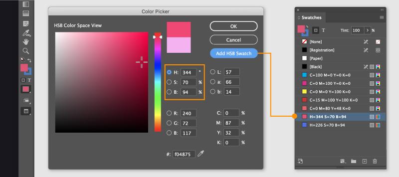 HSB Colo in Adobe InDesign