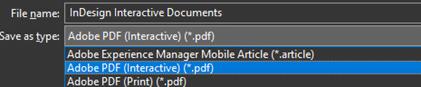 InDesign - Adobe PDF Interactive