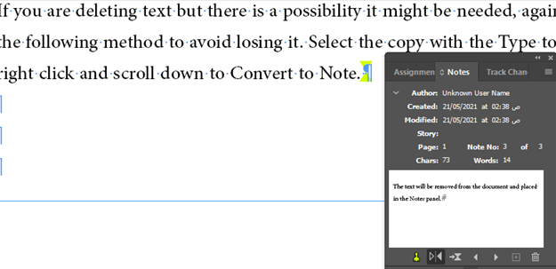 Convert Note to Text - InDesign