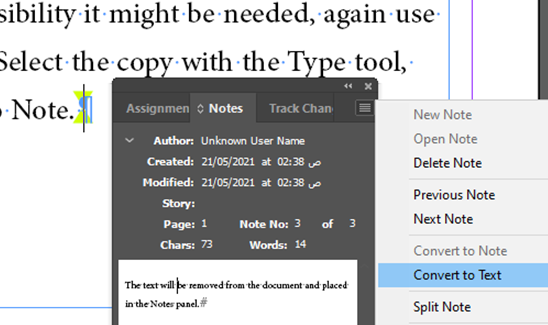 Convert to Note InDesign