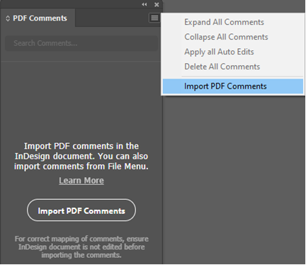 PDF Comments Panel - InDesign
