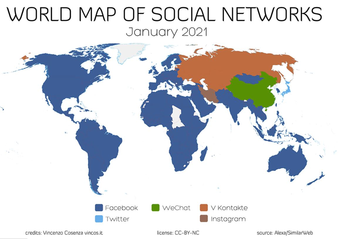 World Map of Social Networks 2021